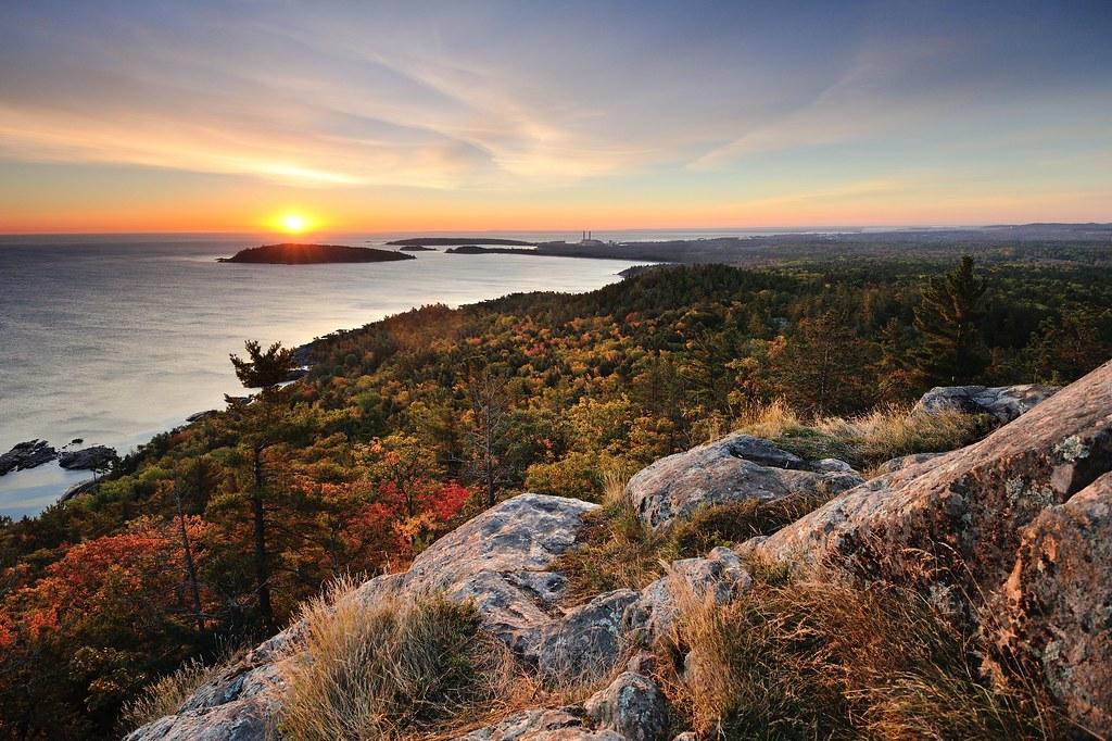 Fall Mountain Desktop Wallpaper Autumn Sunrise At Sugarloaf Mountain Marquette Michigan