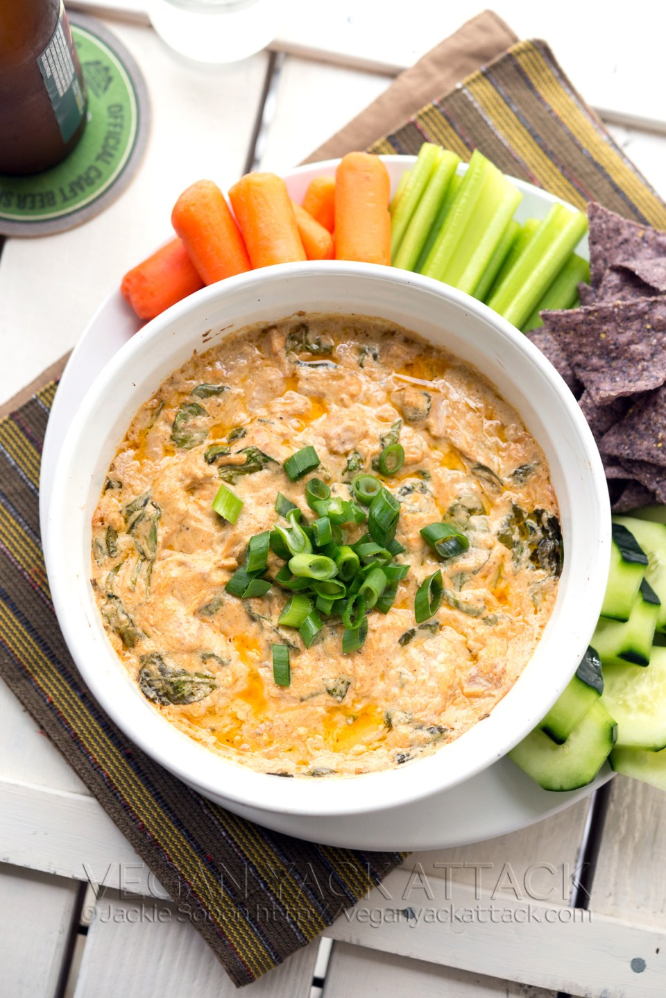 Vegan Buffalo Jackfruit Spinach Dip