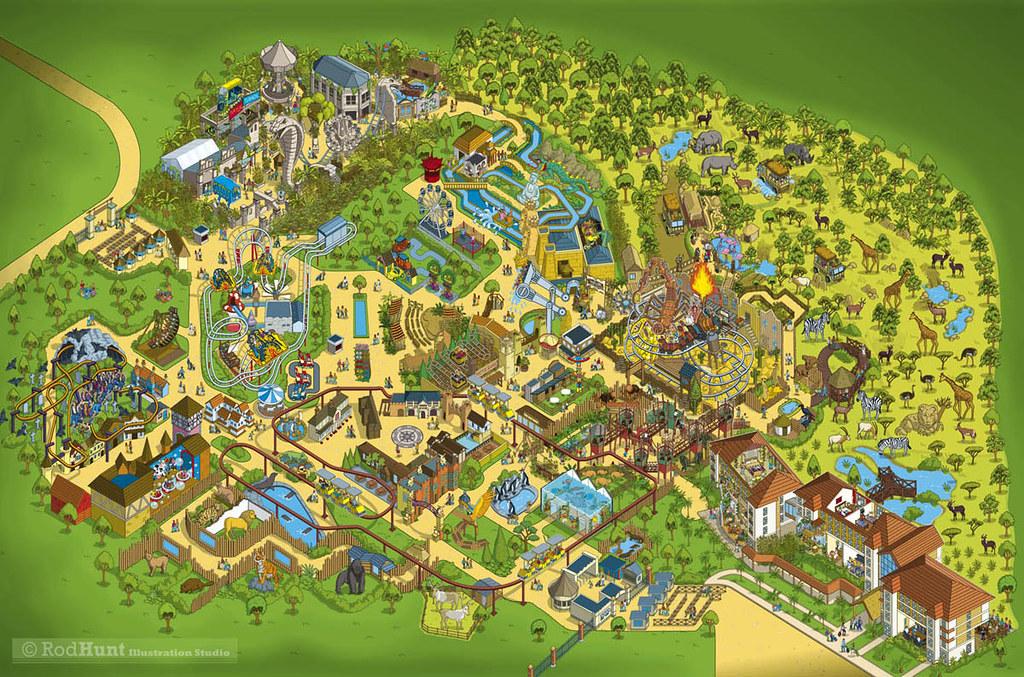 Chessington World of Adventures 2014 Theme Park Map Illust\u2026 Flickr