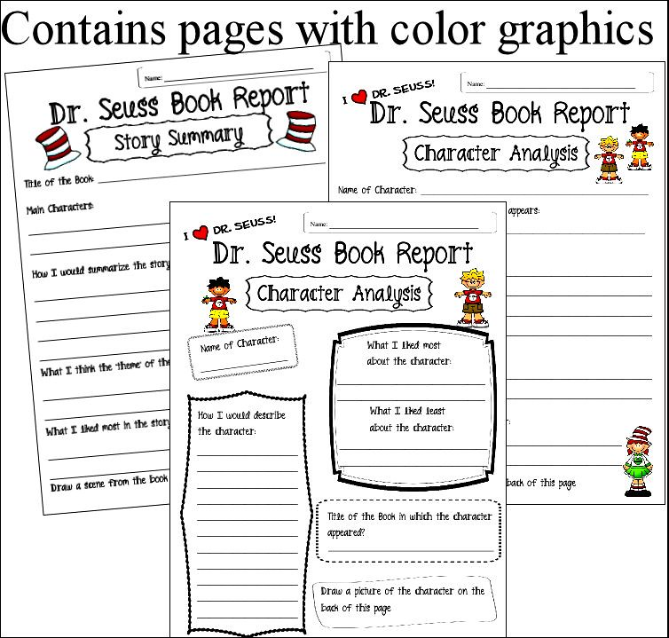 Dr Seuss Book Report and Character Analysis Forms Flickr