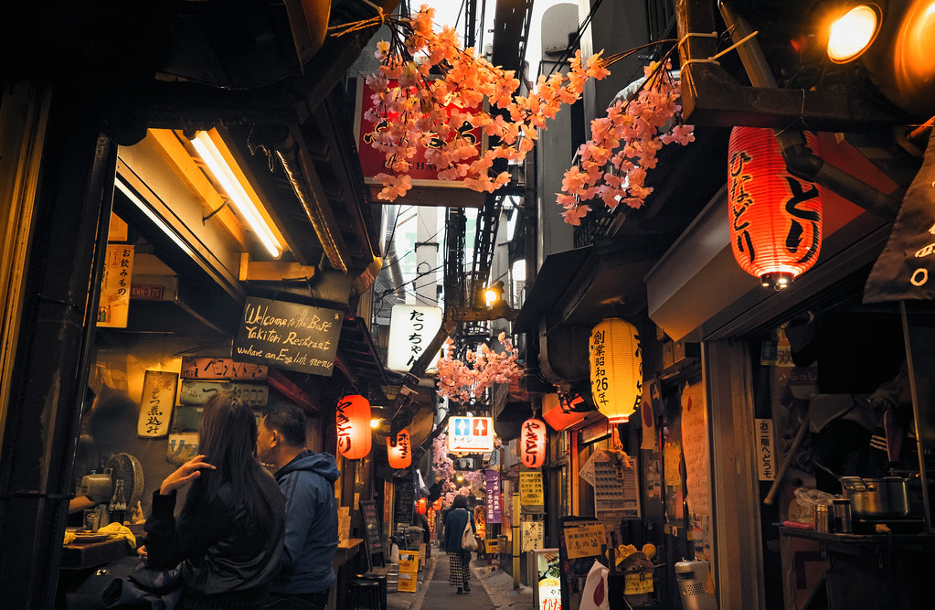 Stores That Have 3d Wallpaper Tokyo Memory Lane Piss Alley With Cherry Blossoms