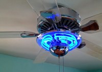 Neon ceiling fan | Chrome & clear plastic ceiling fan with ...