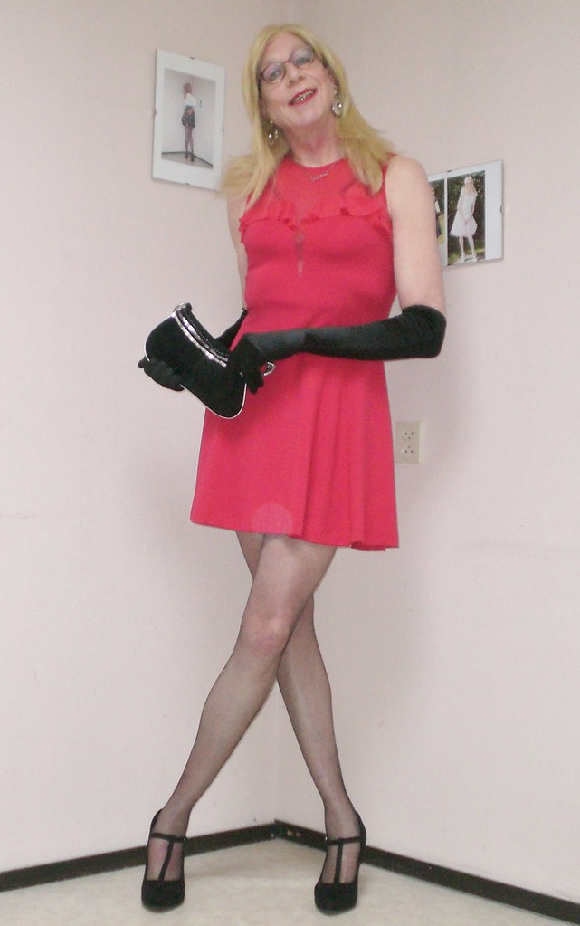 Black gloves and red dress my little red dress in