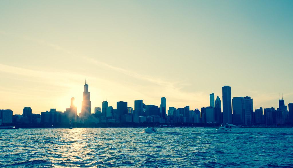 3d Wallpaper Hd Wallpaper Chicago Skyline At Sunset Chicago Illinois Along Lake