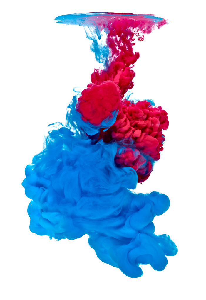 Black White Wallpaper Paint In Water Color Liquid Blue Red Blue Red Paint In