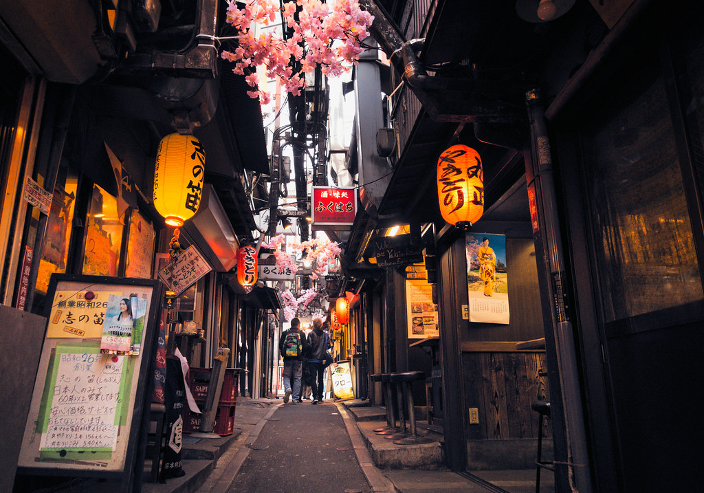 Stores That Have 3d Wallpaper Tokyo Memory Lane Yakitori Alley Cherry Blossoms