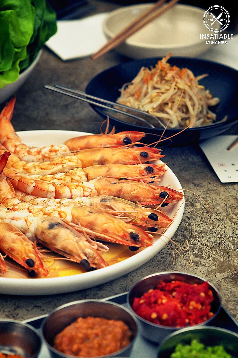 Review of Cho Cho San, Potts Point: steamed prawns for the bossam menu
