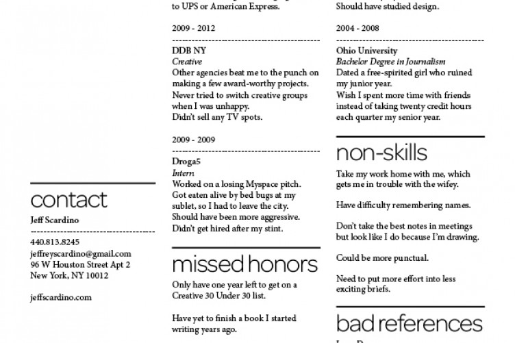 This guy listed his failures and flaws on his CV -- and it totally