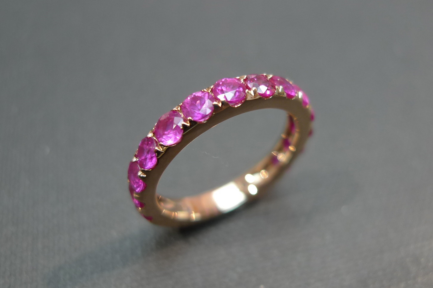 pink sapphire wedding band ring in 18k rose gold pink diamond wedding band Pink Sapphire Wedding Band Ring in 18K Rose Gold