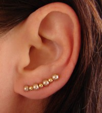 Ear Pins - Champagne Gold Glass Pearls And Gold Beads ...