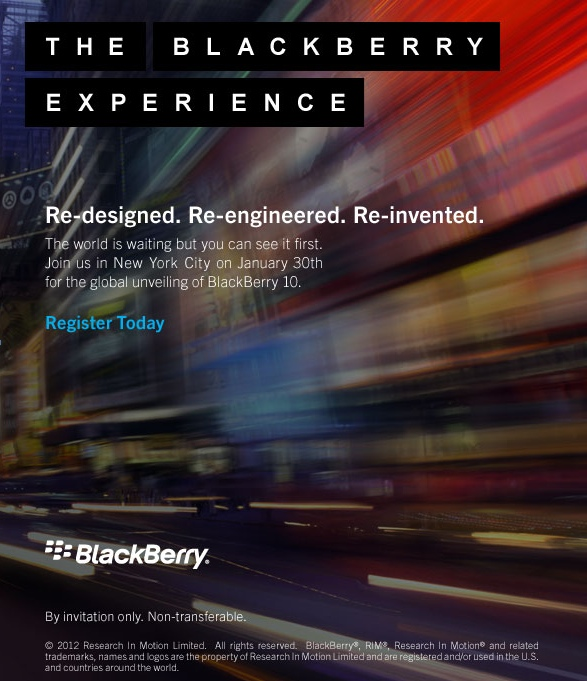 BlackBerry 10 device launch announcement January 30th