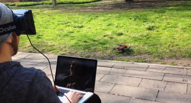 OculusDrone, A Parrot AR.Drone 2.0 Controlled by an Oculus Rift Virtual Reality Headset