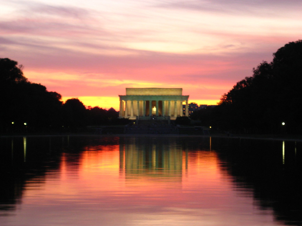 New 3d Wallpaper Sunset At The National Mall Lincoln Memorial Ashoe