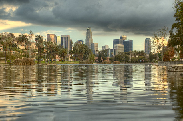 3d Wallpaper Echo Park Los Angeles Hdr Shot Overlooking The Water At