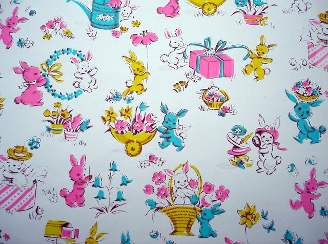 Free 3d Wallpaper Backgrounds Vintage Easter Wrapping Paper With Bunnies Blempgorf