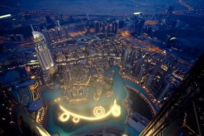 Dubai fountains from Burj Khalifa [Explored] | Night shot ...