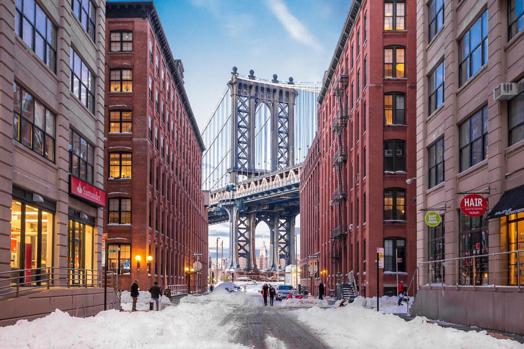 3d White Brick Wallpaper Washington Street Dumbo Brooklyn New York Winter Scene