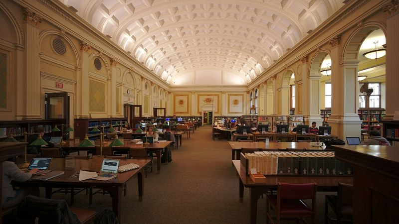 Interior of the main branch of Carnegie Library of Pittsburgh, a public library in Pittsburgh. The main library opened in 1895 and was funded by steel magnate Andrew Carnegie.