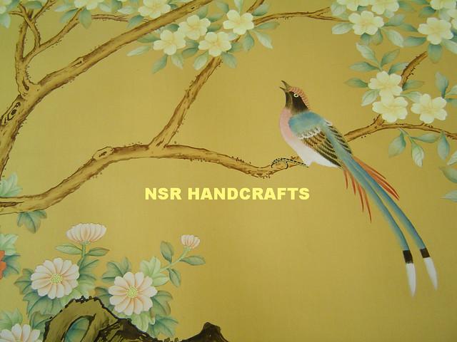 3d Wallpaper For Walls Designs Chinoiserie Handpainted Silk Wallpaper Handmade