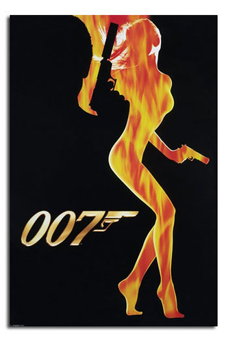 New Smoking Girl Wallpaper 0034 James Bond 007 Flame Girl Silhouette Poster