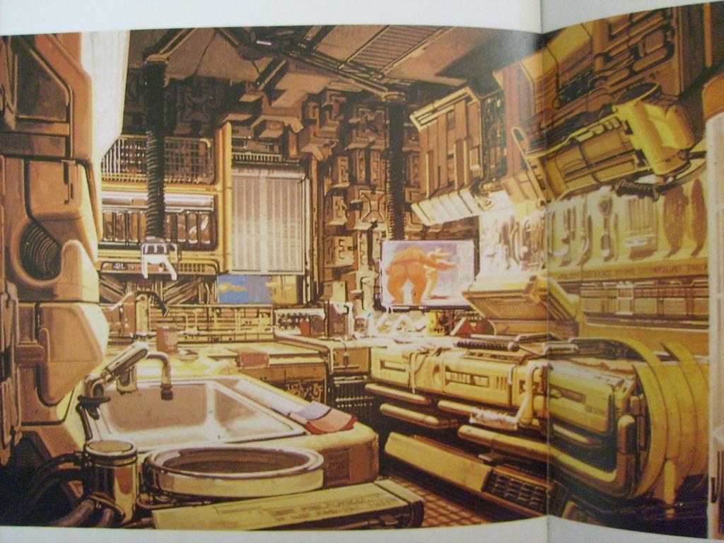 3d Room Wallpaper Blade Runner Kitchen Concept Art Jpg Rare Syd Mead Blade