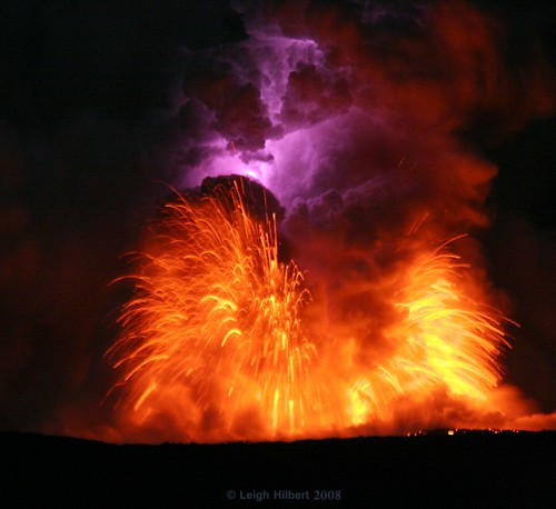 Electric Wallpaper 3d Lava Blast And Electric Lightning Bolt Within Moonlit Lava