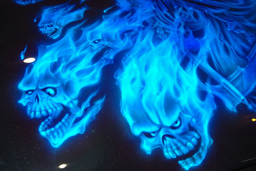3d Woman Wallpaper Blue Skulls Airbrush Not Edited Samy Anne Flickr