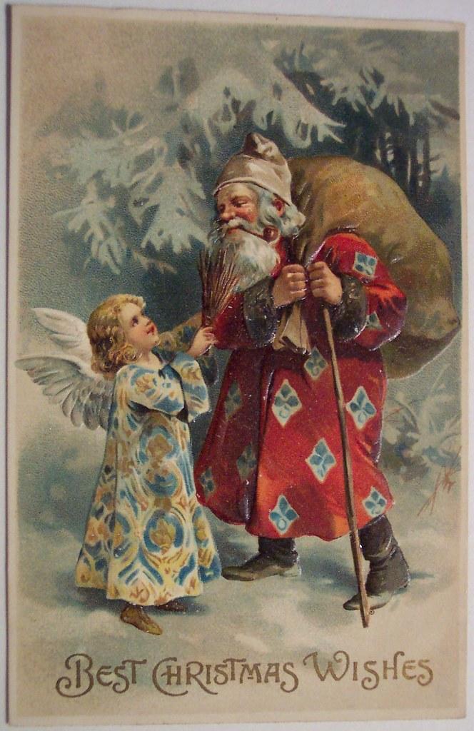 Girl Boy Wallpaper Images Vintage Christmas Postcard Santa And Angel Dave Flickr