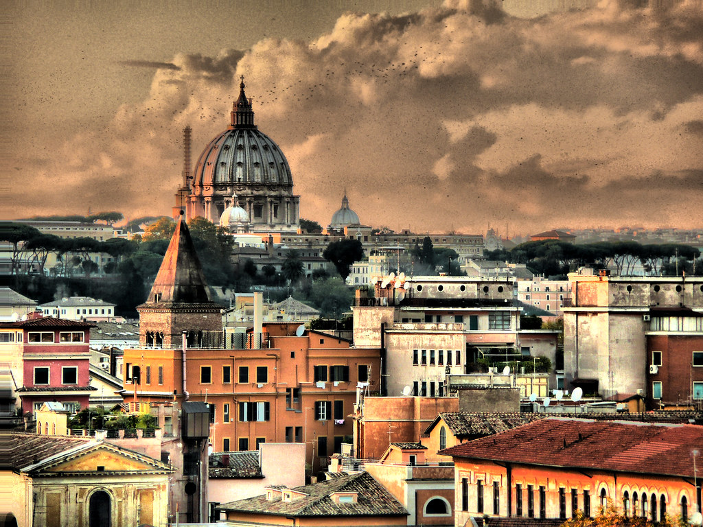 3d Picture Wallpaper Tetti De Roma 2 4 Flocks At Sunset On Roman Rooftops