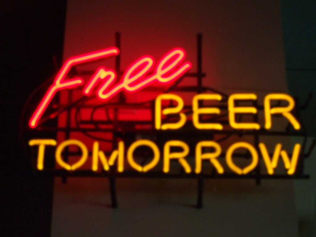 Vintage Wallpaper Quotes Free Beer Tomorrow Neon Sign This Is The Free Beer