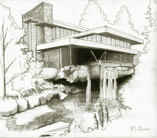 Frank Lloyd Wright Falling Water Wallpaper Fallingwater House From My School Work Marker