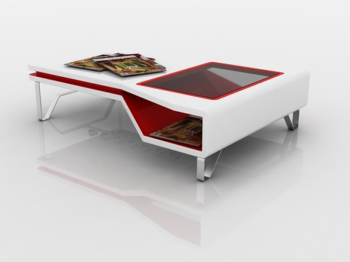 "Buhl Couchtisch White And Red Coffee Table ""miki"" 