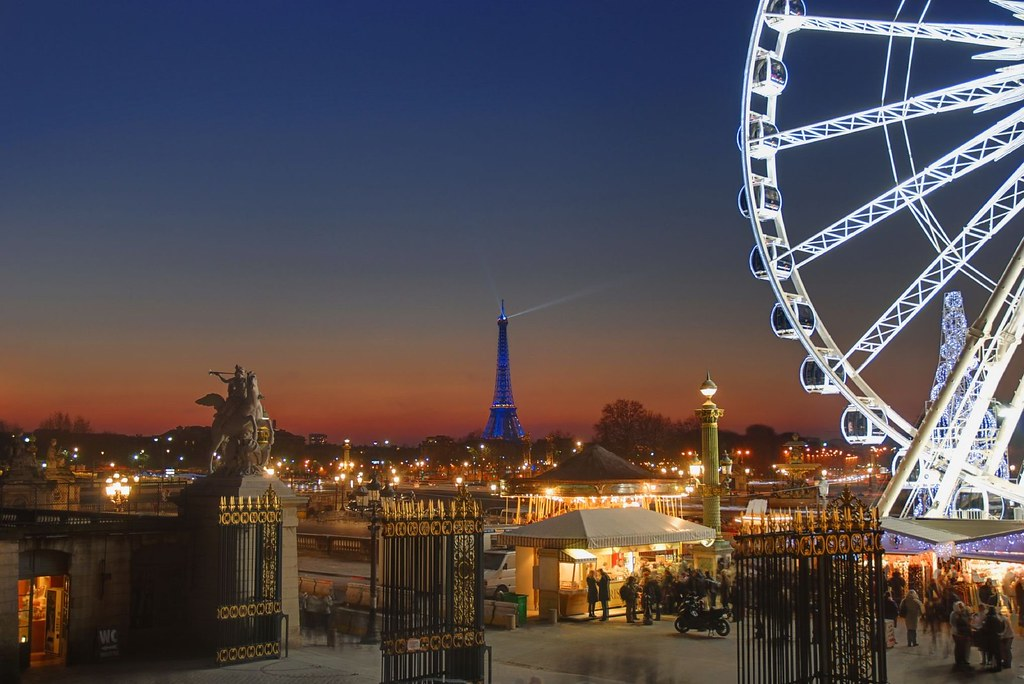 Natal Wallpaper 3d Paris Sunset Christmas Time View From The Tuileries