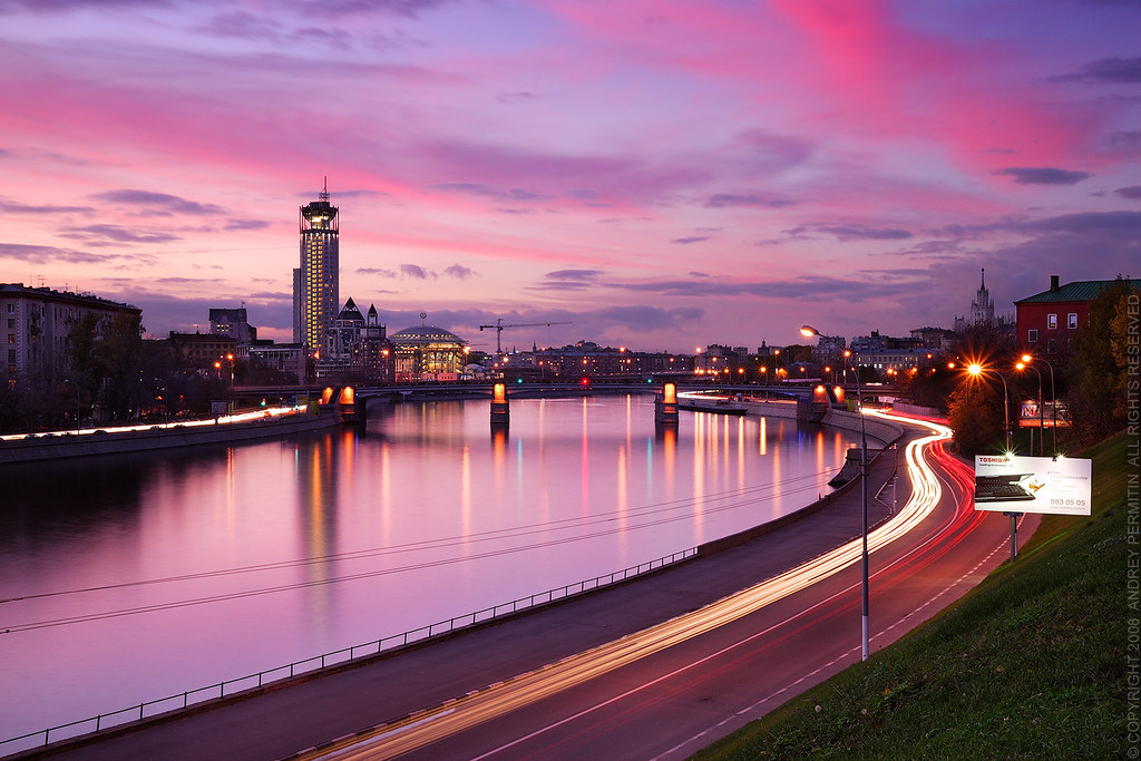 3d Pink Wallpapers Hd Purple Sunset Moscow View On The Swissotel Near