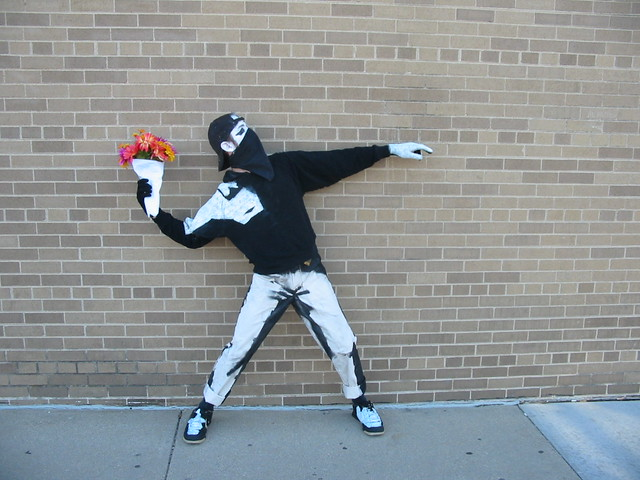 Free 3d Flower Wallpaper Banksy Costume On A Brick Wall 02 This Photo Was Taken