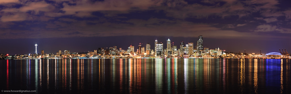 Night Sky 3d Wallpaper Seattle Panorama This Is A 7 Shot Panorama Of Seattle On