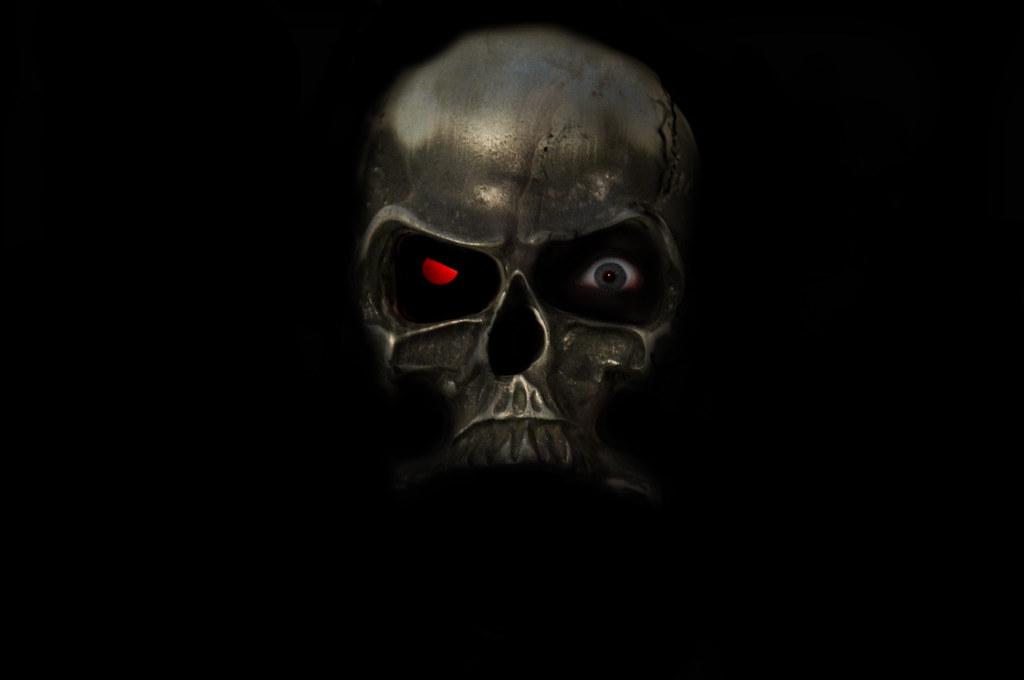 Wallpaper Skull 3d Metal Skull With Terminator Eye I Wanted A Cross Between