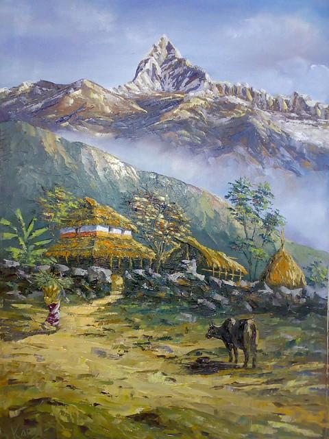 Desktop Wallpaper Fall Water Pokhara Landscape Oil Painting By Kamal Gurung 169 Art By