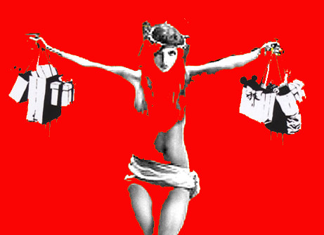 Wallpaper Jesus Christ 3d Jesus With Shopping Bags Consumer Christ Banksy Remix