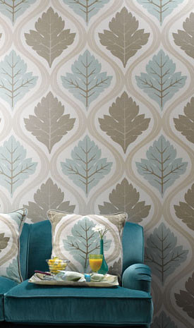3d Pictures Live Wallpaper Modern Wallpaper Leaf Print Blue Taupe Paired With Tu