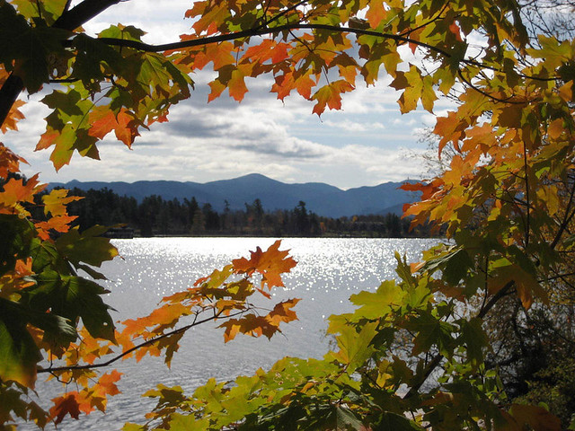 Fall Autumn Wallpaper Free Colorful Framed View Of Lake Placid Fall In The