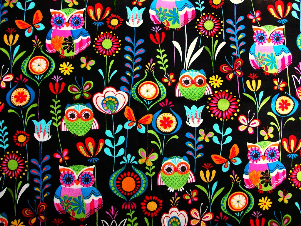 Colorful Pictures Of Owls Owl Fabric Nifty Owl Fabric Handmade Stuffs Flickr