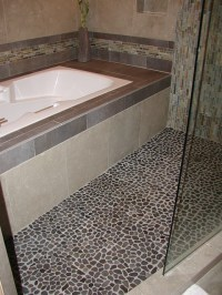 River rock stone flooring in shower area | Flickr - Photo ...