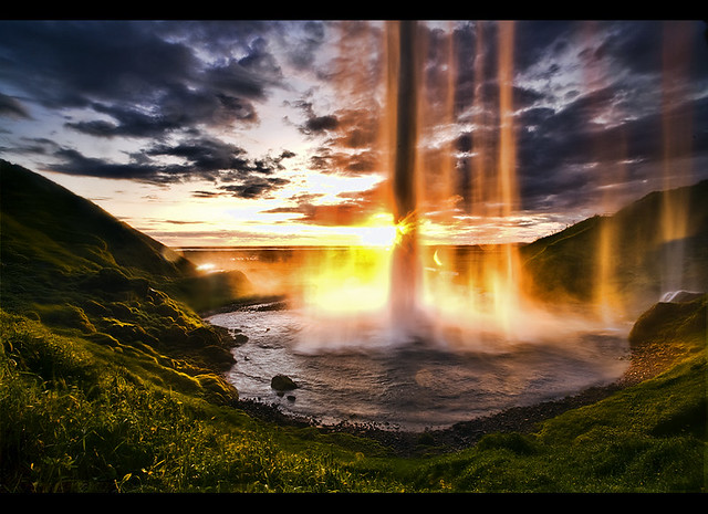 Wallpaper Of Water Fall Sunset Behind The Waterfall From A Tour On Southern