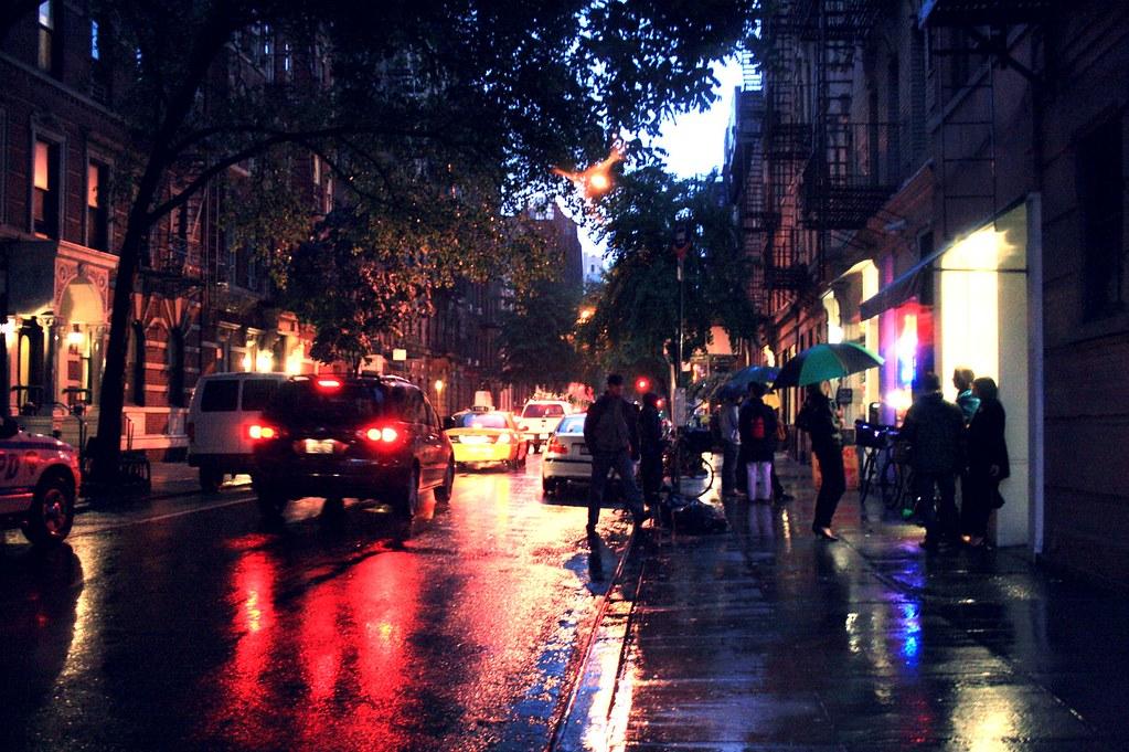Beautiful Chinese Girl Painting Wallpaper Bleecker Street At Night In The Rain Bleecker Street