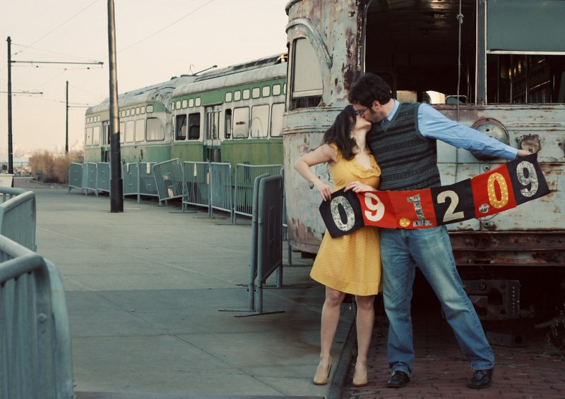 """Save the Date     Design #2 (a/k/a """"Why are they kissing by junk?""""  -- P. Miller)"""
