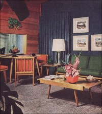 1950s Living Room with Camouflage Draperies | This was ...