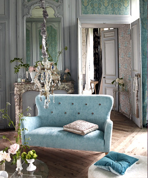 Modern fabric: Romantic French living room + duck egg velv…   Flickr