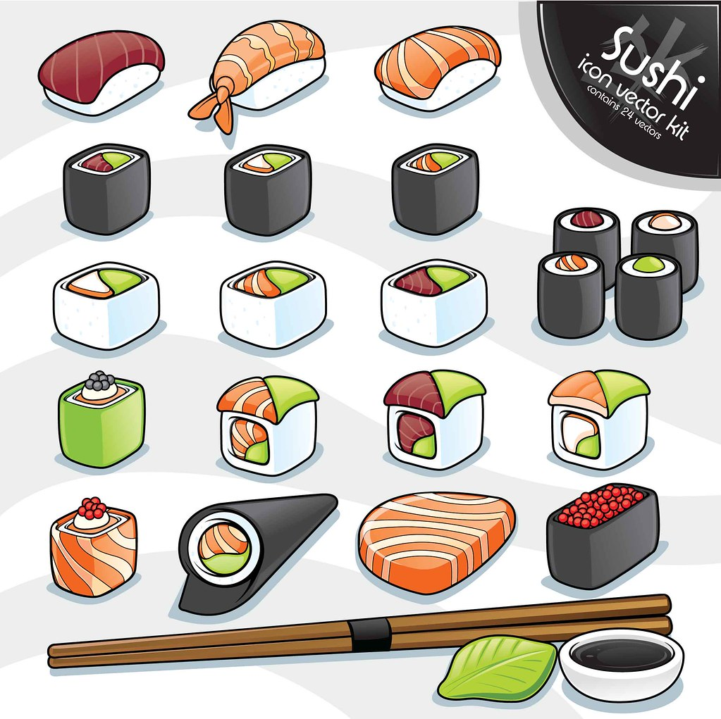 3d Cartoon Wallpaper Sushi Vector Kit I Love Sushi Part Of A Series Of