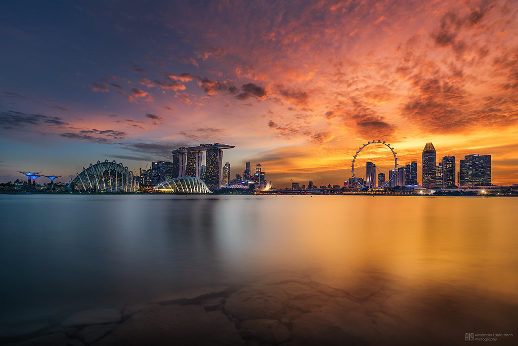 Beautiful 3d Wallpapers For Desktop Background Burning Sunset Over Singapore Burning Sunset Over The